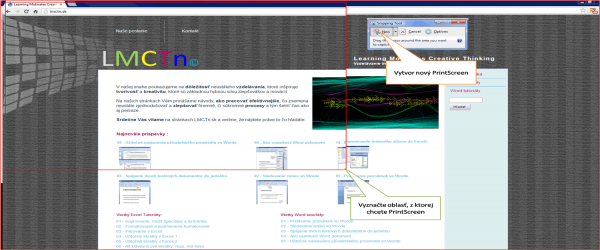 Snipping Tool Print Screen nastroj