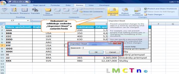 Ako uzamknut Excel dokument