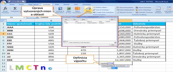 Manazer Mien v Exceli