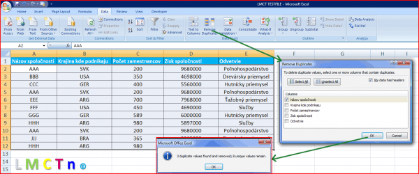 Ako odstranit duplikaty v Exceli